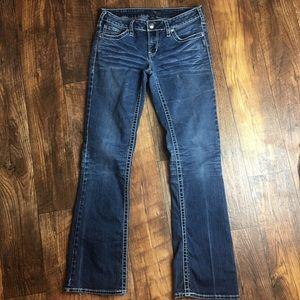 Silver Jeans Aiko Bootcut Size 31x33 Frayed Hem